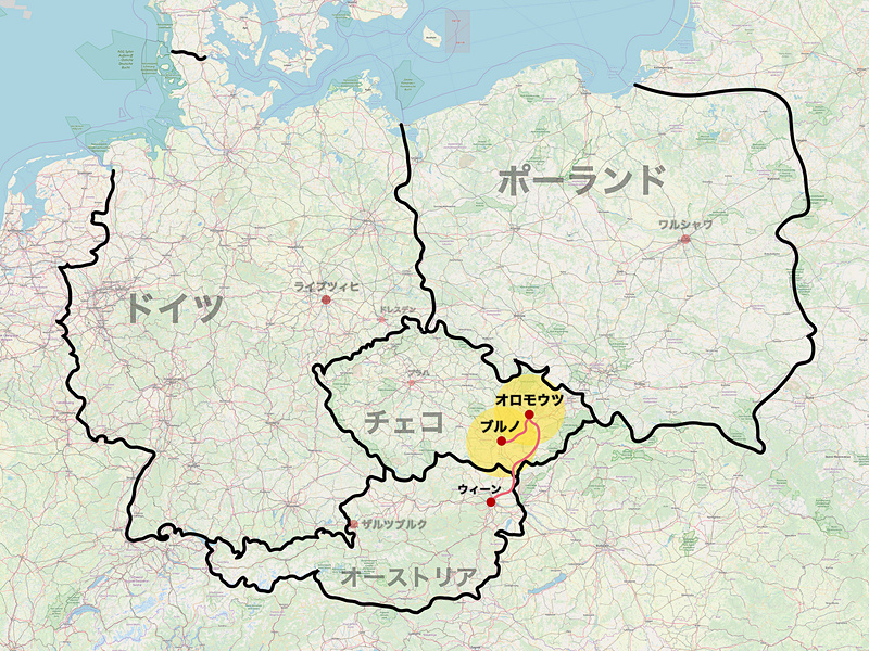 """ユーレイル グローバルパスを利用して、ウィーンからチェコのオロモウツ、ブルノを巡る(C)<a href=""""http://www.openstreetmap.org/copyright"""" class=""""n"""" target=""""_blank"""">OpenStreetMap contributors</a>"""
