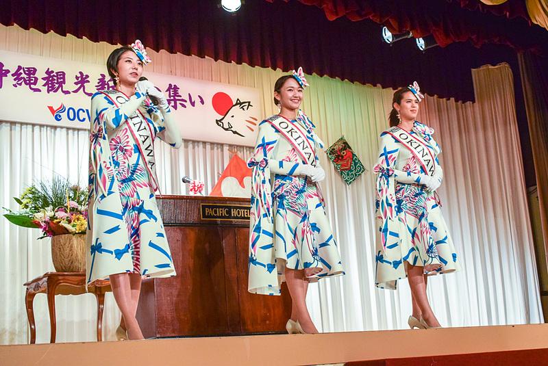 ミス沖縄2019の3名。左から、スカイブルーの玉城真由佳さん、コバルトブルーのスピーナ瑛利香さん、クリーングリーングレイシャスの譜久里美樹さん