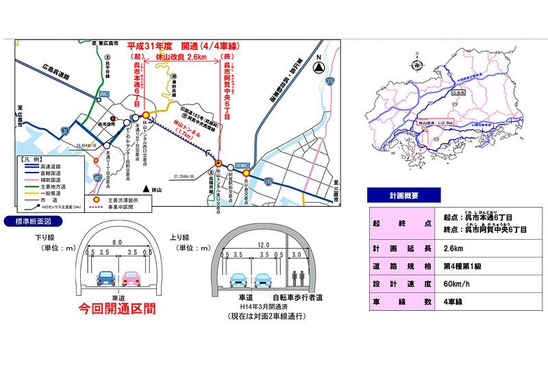 国道185号「休山改良」の位置図