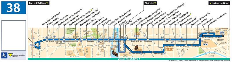 38番線路線図(RATPのWebサイトより)