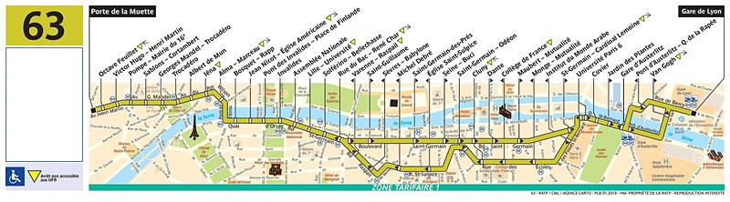 63番線路線図(RATPのWebサイトより)