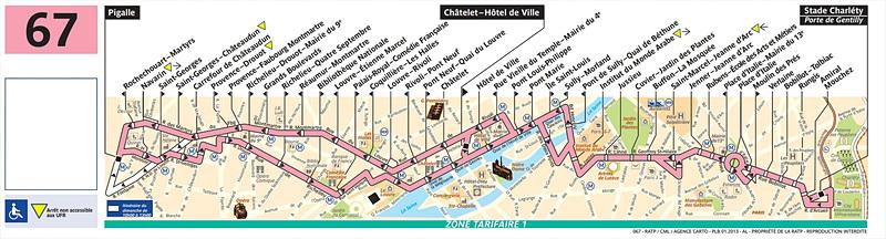 67番線路線図(RATPのWebサイトより)
