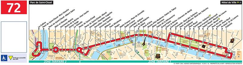 72番線路線図(RATPのWebサイトより)