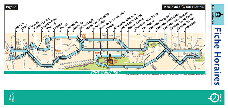Montmartrobus路線図(RATPのWebサイトより)