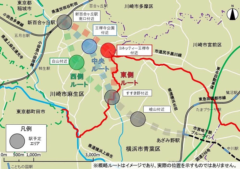 横浜市営地下鉄ブルーラインをあざみ野駅から小田急線新百合ヶ丘駅南口付近まで延伸する