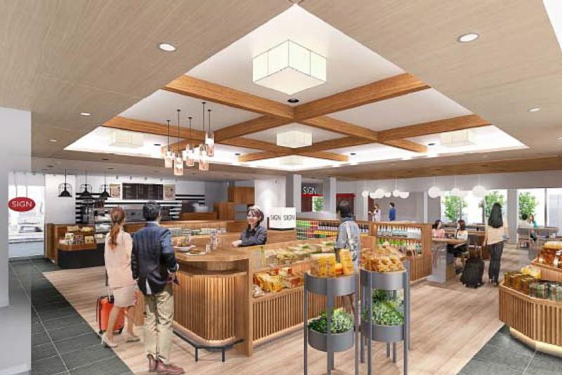 店舗ではお土産やお弁当を取り扱うほか、カフェも備える。店舗は3月末開業予定