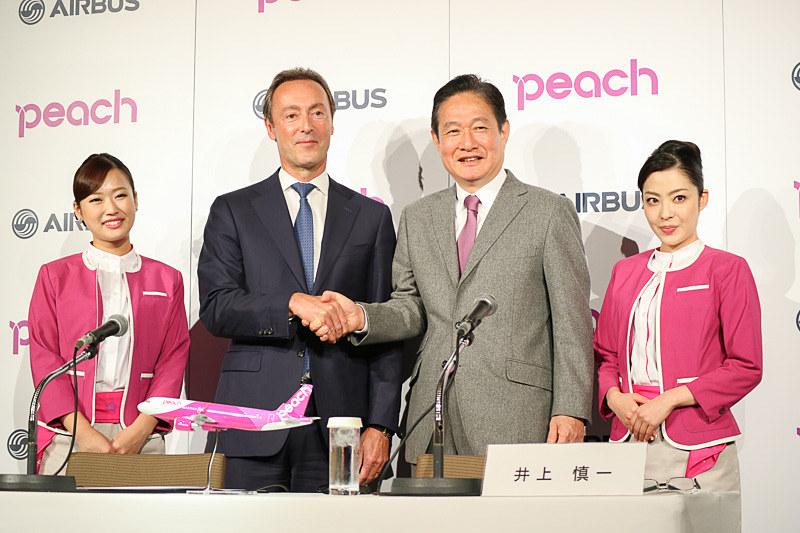 2016年11月に行なわれた、エアバス A320neo型機発注の記者会見の様子