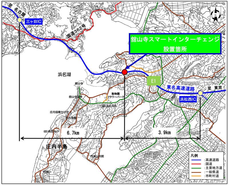 NEXCO中日本は、東名高速道路(E1)舘山寺スマートICを3月17日に開通する