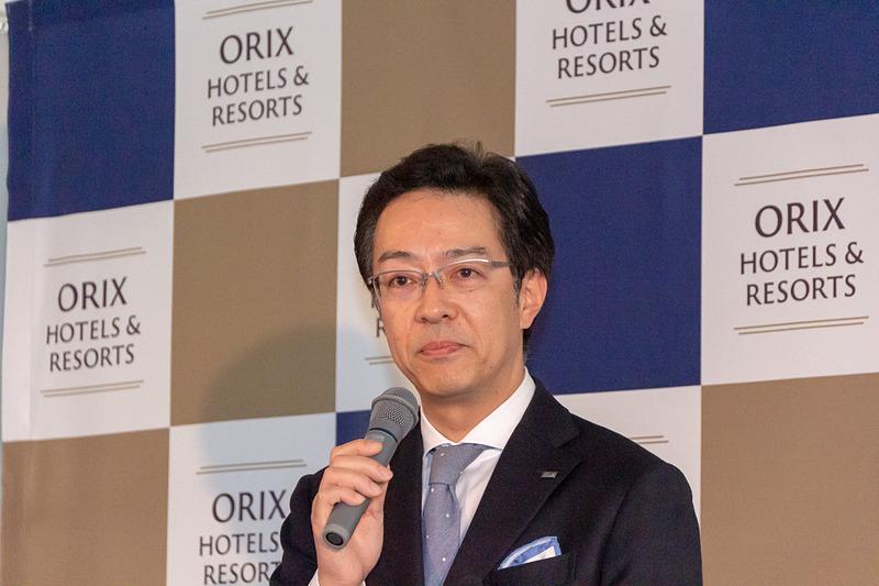 新たな宿泊ブランド「ORIX HOTELS & RESORTS」を発表する、オリックス不動産株式会社 代表取締役社長の高橋豊典氏