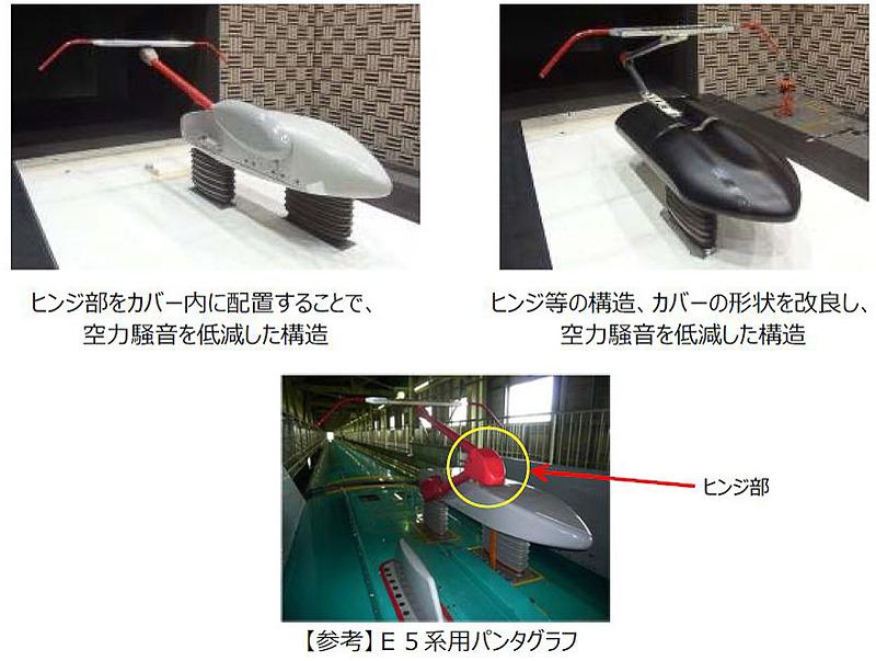 2種類の低騒音パンタグラフを搭載して環境性能を向上