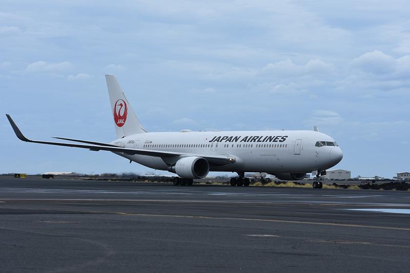 成田から到着したJAL便。この折り返しで帰国する
