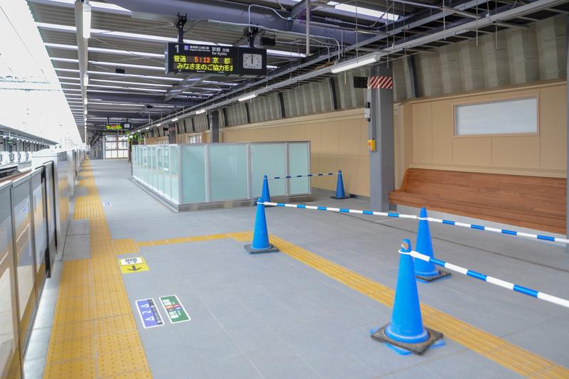 京都駅側のホーム幅は6.7m