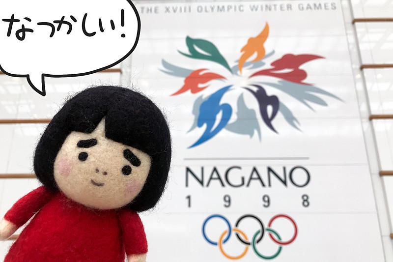 JR長野駅に飾られている21年前の長野オリンピックのポスター