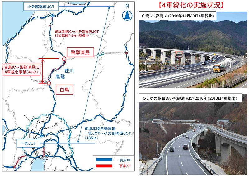 東海北陸道は、愛知県にある名神高速道路(E1)の一宮JCTと、富山県にある北陸自動車道(E8)の小矢部砺波JCT間(延長約185km)を結ぶ高速道路で、2008年度に全線が開通。以後、暫定2車線区間の4車線化が進められ、2009年度までに一宮JCT~白鳥IC間(約76km)が4車線運用に。3月20日の開通により、一宮JCT~飛騨清見IC間(約120km)が4車線化されることになる