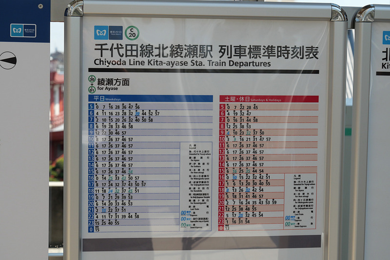 3月16日以降の北綾瀬駅の時刻表。上下線合わせて124本のうち51本が10両編成の直通列車となる