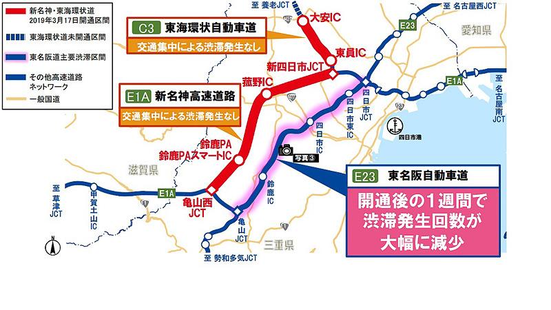 東名阪道の渋滞緩和の状況