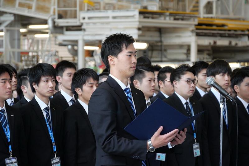 新入社員を代表して誓いの言葉を述べた、ANAの田中裕貴氏