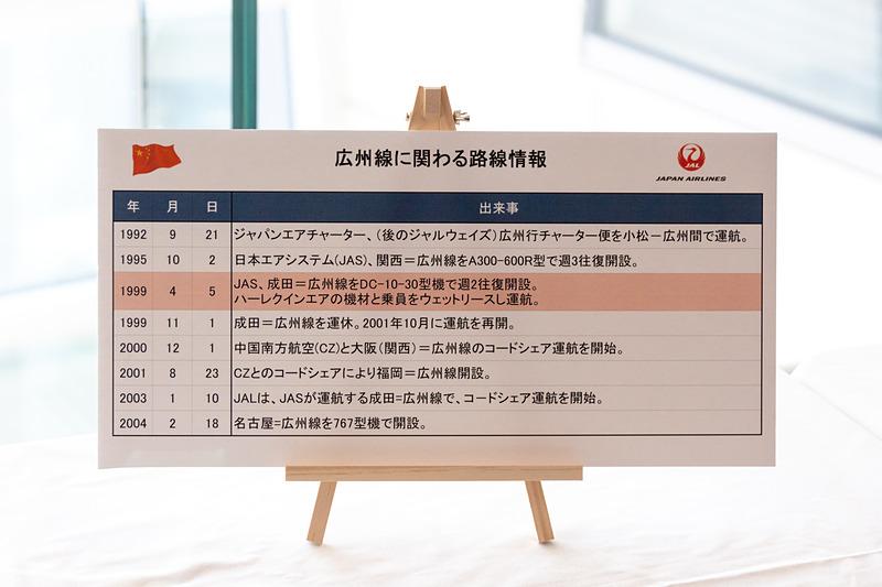 就航当時の様子や使用していた機体の写真も展示されていた。写真の年表には記載されていないが、羽田~広州線が開設されたのは2015年10月25日
