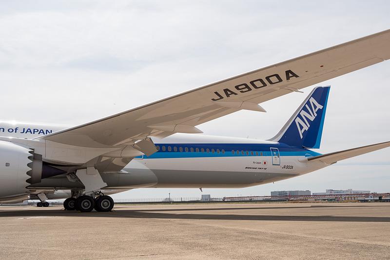 3月31日に到着したANAのボーイング 787-10型機の1号機目。登録記号は「JA900A」