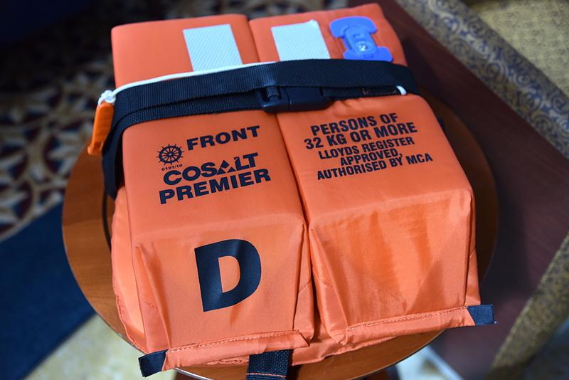 集合場所や区分も救命胴衣に記されている