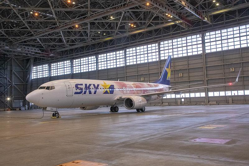 羽田空港のスカイマーク格納庫で公開した「タカガールジェット」(ボーイング 737-800型機)