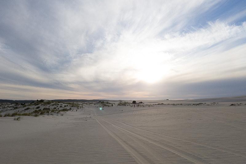 サウザンフォレスト地域にある国立公園内の砂丘。白い砂が特徴的の砂丘でオフロード車で訪れるツアーなどに参加できる