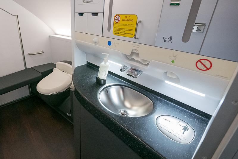洗面台とトイレスペースがはっきり分かれ、ベンチシートや着替え台を備える広々としたラバトリー
