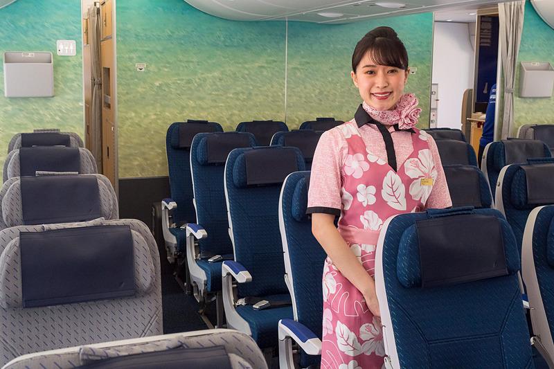 5月24日にハワイ・ホノルル線に就航するANAのエアバス A380型機「FLYING HONU」のエコノミークラス。最後方に備えるカウチシート「ANA COUHii」にも注目