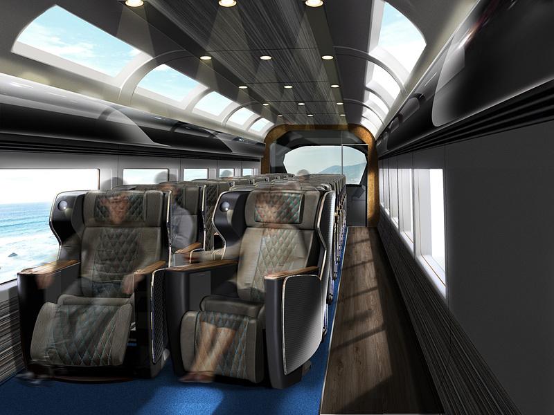 JR東日本では初めてとなるプレミアムグリーン車。ゆったりとしたプライベート空間とくつろぎの空間を実現する1+1の座席配置で、シートピッチは1250mm。天窓・窓からの景色を楽しむため、収納スペースは座席下にレイアウト