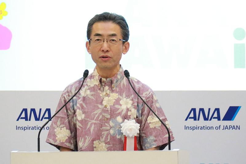 あいさつに立った全日本空輸株式会社 代表取締役社長 平子裕志氏