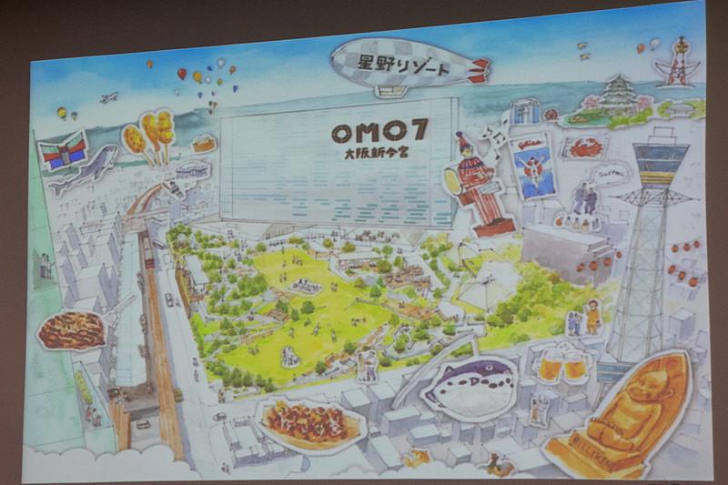 「OMO7 大阪新今宮」のイメージイラスト。新今宮駅との間に広い庭を設ける