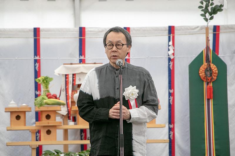 「OMO7 大阪新今宮」の起工式であいさつする、星野リゾート 代表 星野佳路(よしはる)氏