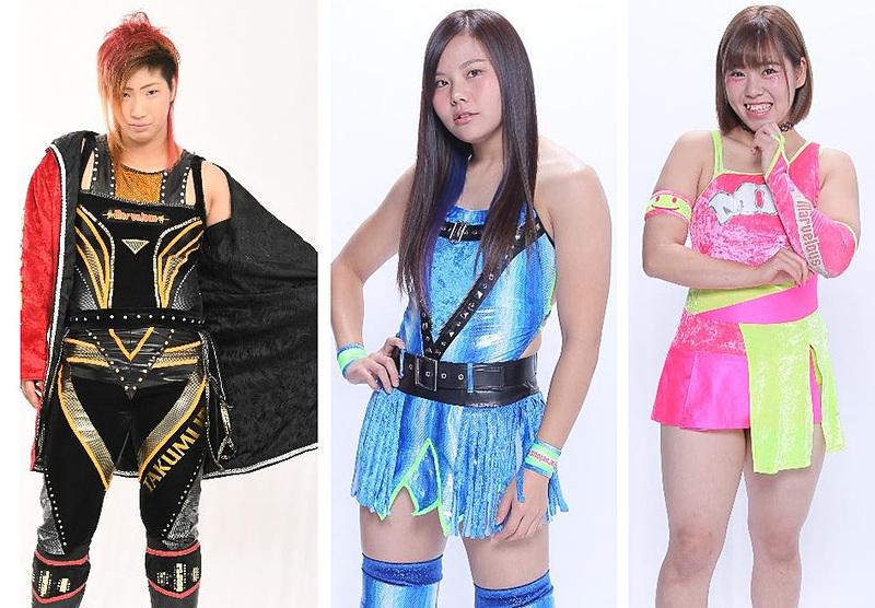 6月11日のイベントに参加する「Marvelous」のレスラー。左から彩羽匠さん、門倉凛さん、桃野美桜さん