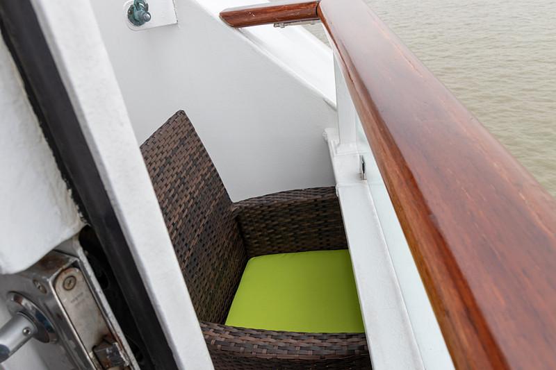 進行方向の景色を独り占めできるパレス ペントハウス。ただし、強風などの理由から船首部分に出られるのは停泊しているときだけに限られる
