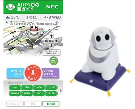 NECの「AI PaPeRoの駅ガイド」(上野駅)
