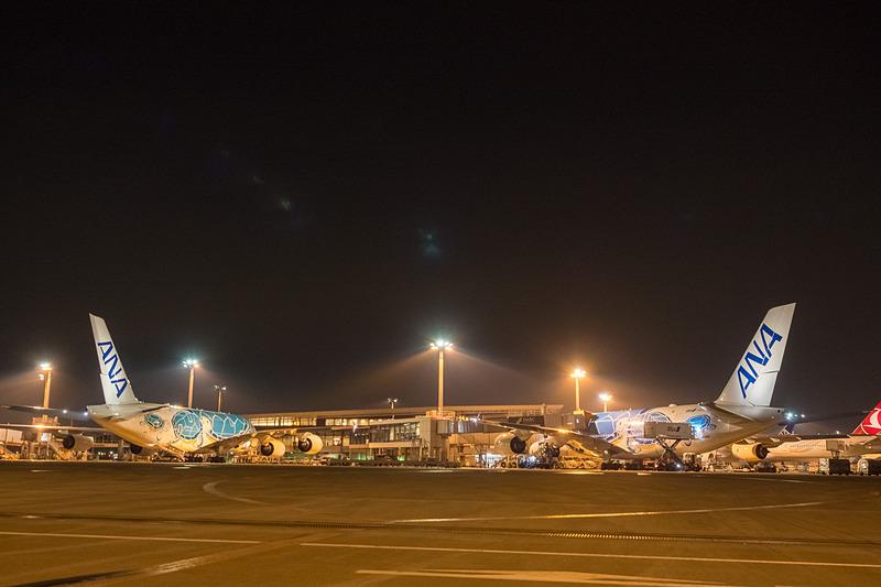 ANAのエアバス A380型機「FLYING HONU(空飛ぶウミガメ)」が週10便化。7月2日には同日に2機がホノルルへ向かった