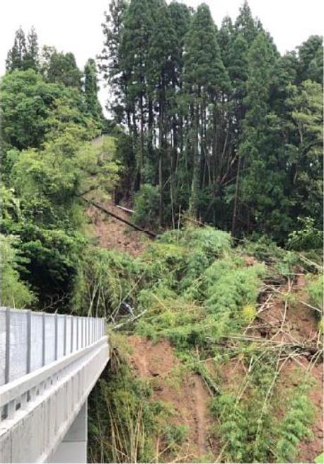 下り線の溝辺鹿児島空港IC~加治木JCT間の被災状況