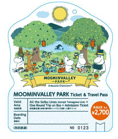 「MOOMINVALLEY PARK Ticket & Travel Pass」の券面イメージ