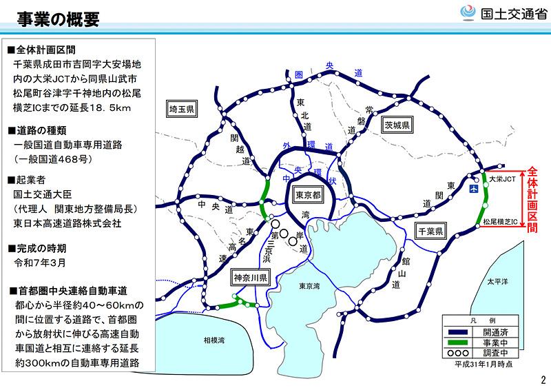 圏央道の千葉県未開通区間となる「大栄JCT~松尾横芝IC」について、土地収用法に基づく事業認定が告示された