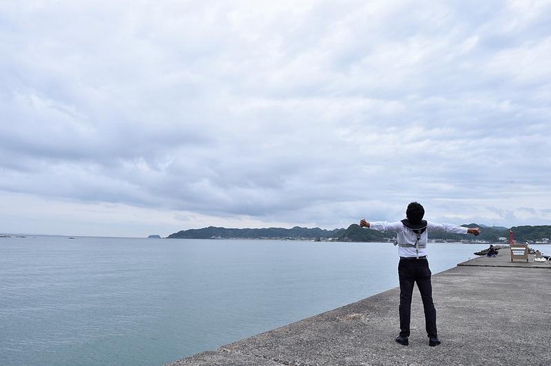 海へ到着、潮風が気持ちいい~!