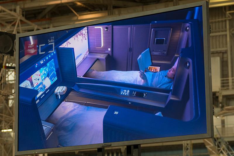 機内のコンセプトを紹介する動画の一部。上段がファーストクラス「The Suite」、中断がビジネスクラス「The Room」、下段がプレミアムエコノミー/エコノミークラスの紹介
