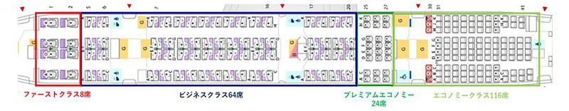 ボーイング 777-300ER型機の新仕様機シートマップ(ANAニュースリリースより)