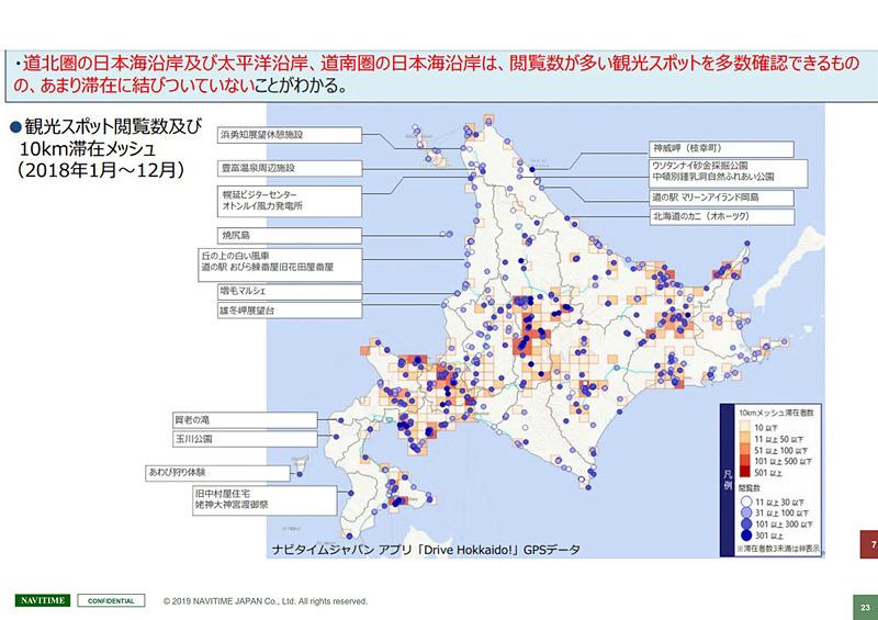 赤系統で示されるのが滞在者数、青系統で示されるのが検索閲覧数。検索はされるが滞在につながっていない地域に二次交通需要の可能性がある