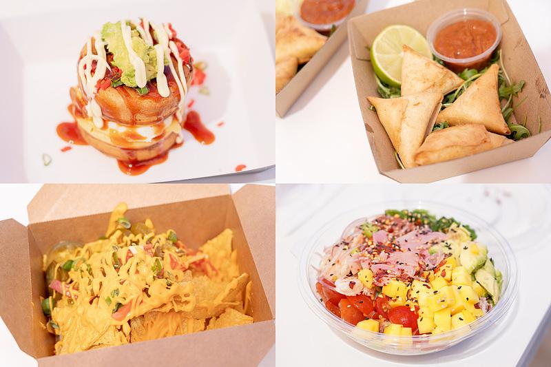 皆で食べたものいろいろ。左上が「OKONOBANYAKI(おこのばんやき)」というナゾの食べ物