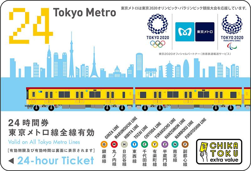東京2020大会エンブレム付き東京メトロ24時間券(前売り券)大人用(イメージ)