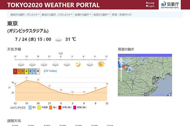 気象庁が7月24日に公開した2020年東京オリンピック・パラリンピック競技大会観戦支援ポータルサイト