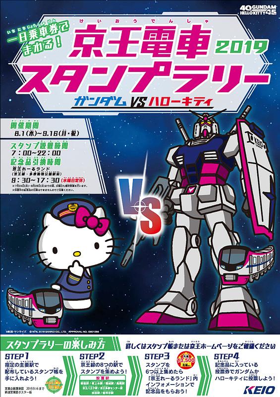 京王電鉄は「京王電車スタンプラリー2019 ~ガンダム vs ハローキティ~」を実施する