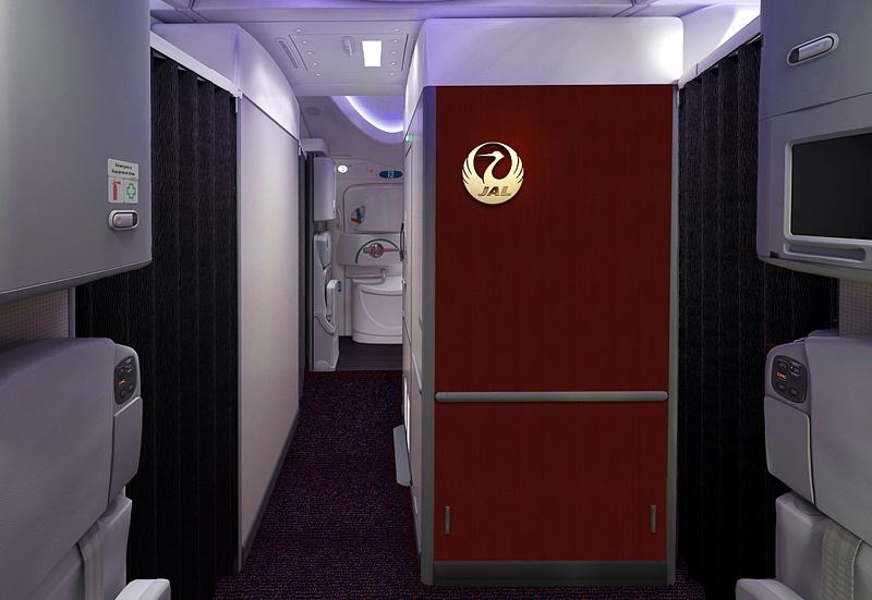 国内線向けボーイング 787-8型機の機内インテリア