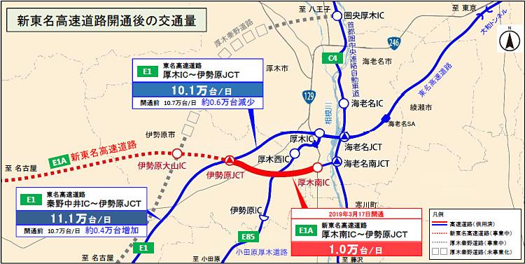 厚木南IC~伊勢原JCT間の交通状況