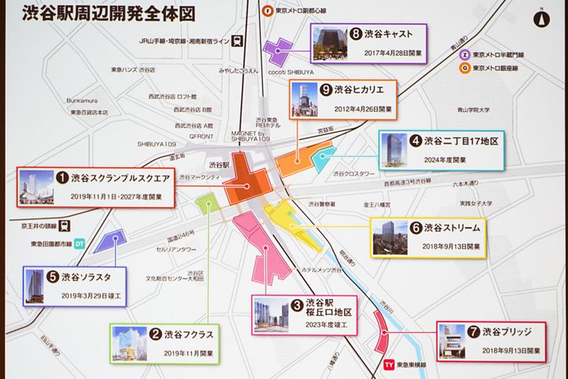 渋谷駅周辺開発の全体図。渋谷フクラスはスクランブルスクエアの隣